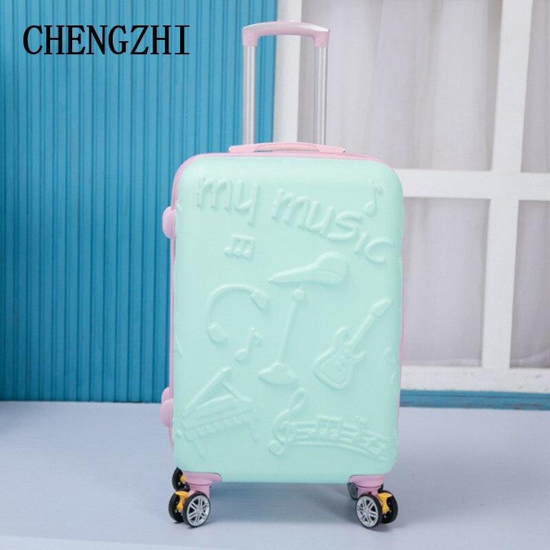 Bolsas de Viagem Chengzhi Polegada Moda Feminina Rolando Bagagem Spinner Alta Qualidade Mala Rodas 20 24