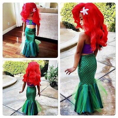 Платье маленькой принцессы Ариэля, детский Карнавальный костюм для девочек, модное зеленое платье