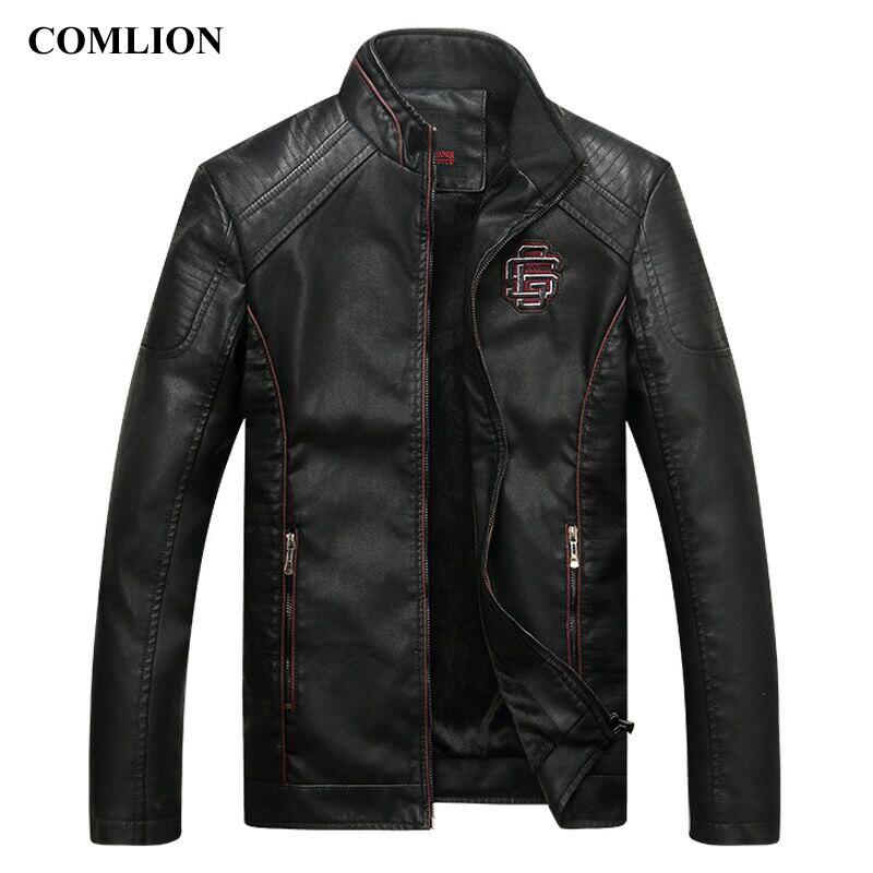 Comlion jaquetas de couro do falso dos homens de alta qualidade clássico da motocicleta moto cowboy jaqueta casaco masculino mais veludo grosso casacos M-5XL c46
