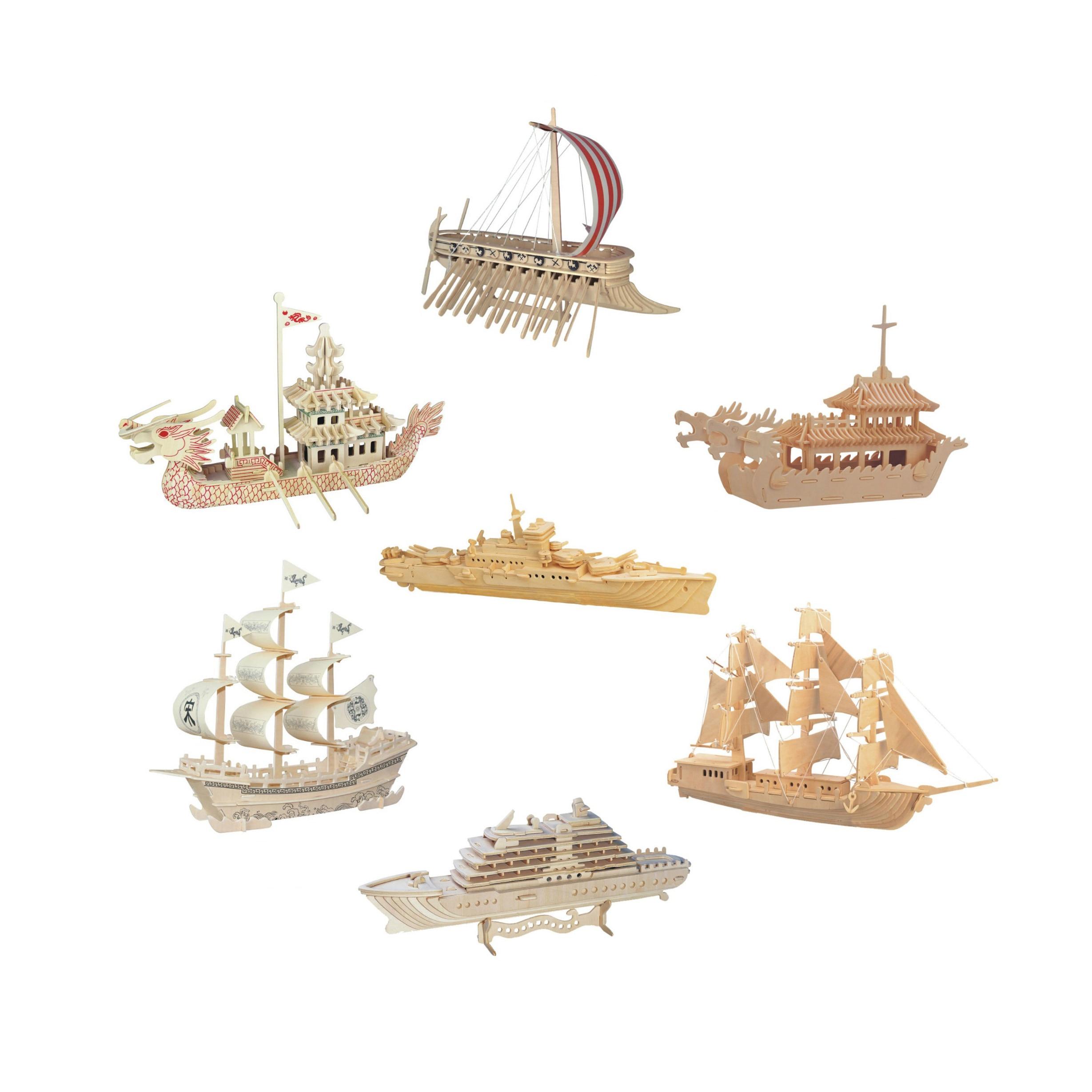 Chanycore bébé apprentissage jouets éducatifs en bois Puzzle 3D Phenicia navires de guerre bateau-Dragon bateau de croisière voilier enfants cadeaux 4298