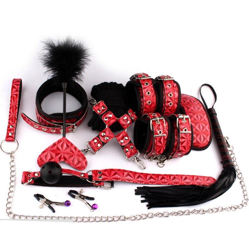 PU cuero Whip Flogger Bondage esclavo perro boca Plug Metal abrazaderas muñeca tobillo puños en juegos adultos del sexo juguetes