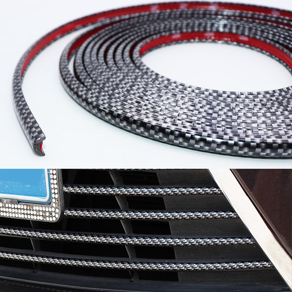 Tira decorativa de fibra de carbono de 4 M/8 M Estilo de parachoques moldura accesorios de coche