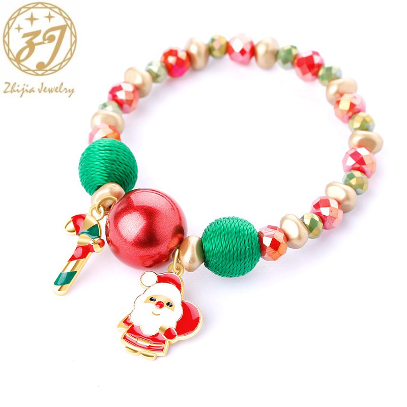 Zhijia, pulseras merry Christmas, pulseras de señora con cuentas de piedra, calcetines de campana de santa claus, muñeco de nieve, pulseras de mujer, regalos