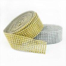 2Meter Diamond Mesh Wrap Rhinestone Ribbon Crystal Tulle Bling Bridal Wedding Cake Decoration Gift Wrap Crystal Tulle