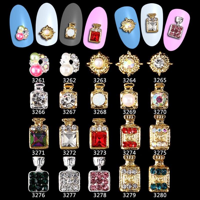 100 Uds botella de Perfume con diamantes de imitación flores decoraciones 3d Nail Art, aleación pegatina de uñas encantos joyería para esmalte de uñas **** 3261-3280