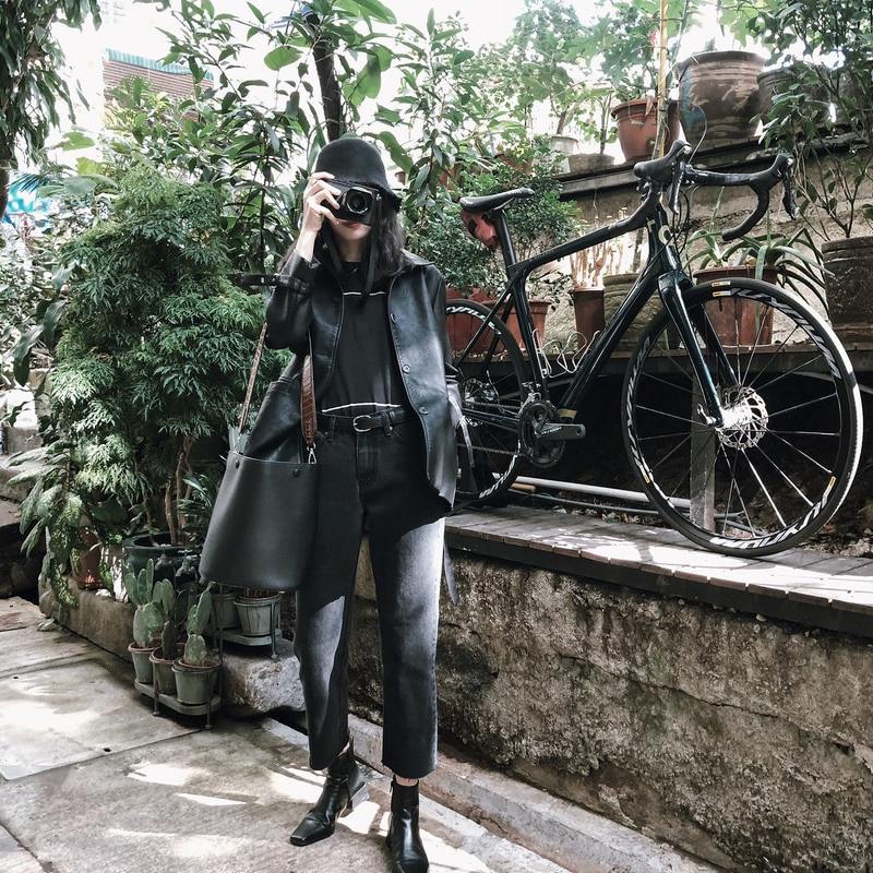 Jvzkass leather female student autumn 2019 new loose black pu jacket was thin motorcycle clothing jacket Z225 enlarge