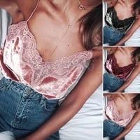 hirigin sexy womens girl v neck vest sleeveless lace print velvet casual simple tank tops