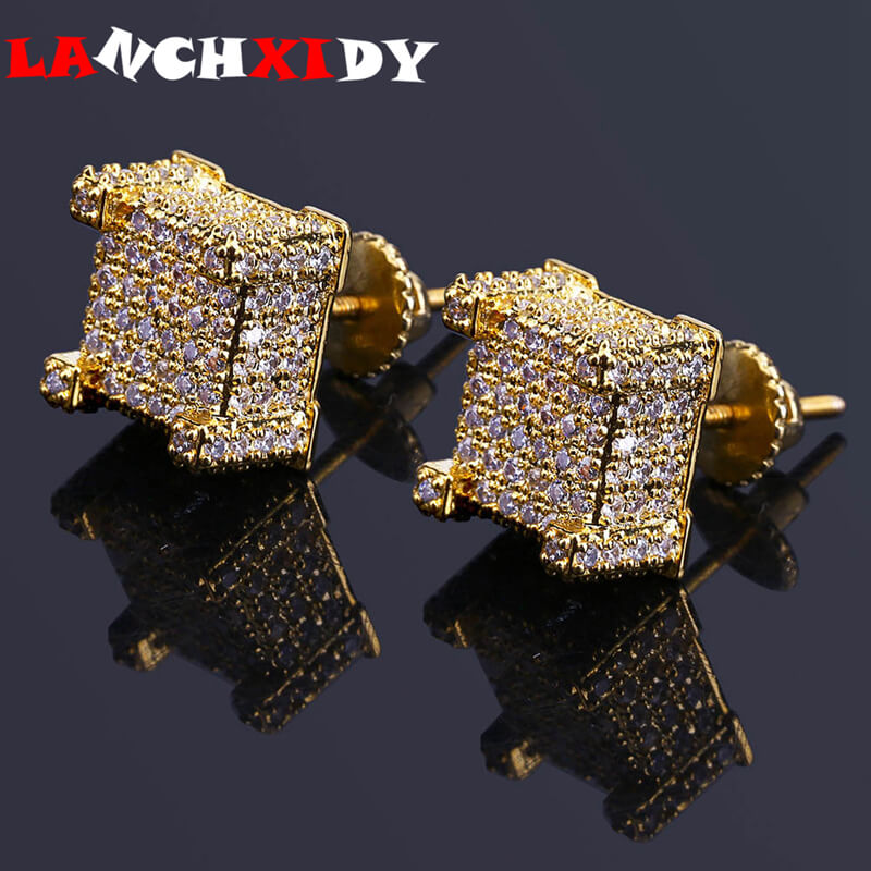 Pendientes de cristal LANCHXIDY para hombre y mujer, circonita con microincrustaciones, joyería de plata Brincos, joyería de HIp Hop para boda