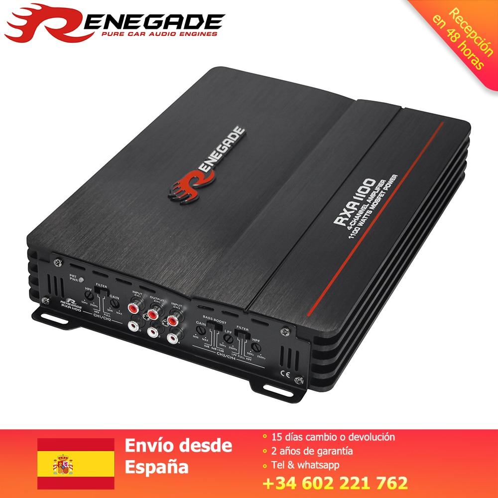 Renegado de 4 canales de Audio amplificador altavoz estéreo con graves coche amplificadores de Audio Subwoofer bajo-Boost 50-250Hz 220*48*220/250mm