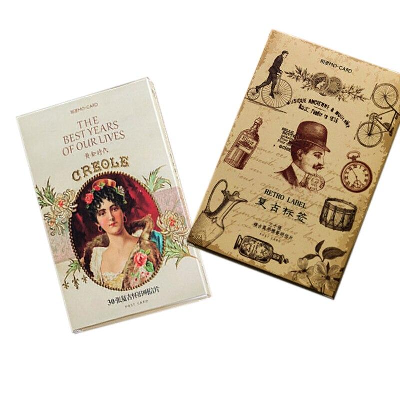 Juegos de postales de papel retro, 4 paquetes por lote, negocio y tarjetas de invitación o felicitación marcador de decoración para lector al por mayor