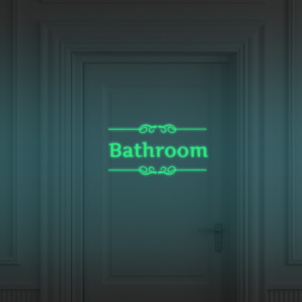 Creative Luminous Wall Stickers Bathroom Toilet Door Vinyl Wall Art Decoration Decals Glow in the Dark Quote Sticker Home Decor