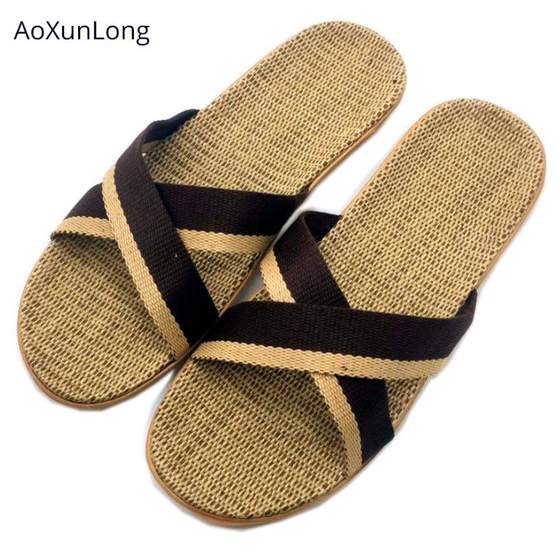 AoXunLong, Zapatillas de casa tejidas de lino de verano para hombres, zapatillas de tela cruzadas para interior, toboganes de cáñamo antideslizantes para casa grande de tamaño EU 40/45
