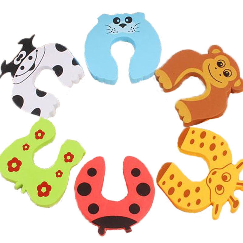 10pcs/lot Kids Baby Cartoon Animal Jammers Stop Edge Corner Guards Door Stopper Holder lock baby Safety Finger Protector