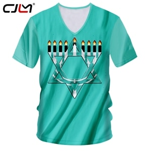 CJLM Man New Black White Stitching 3D Printed Candle And Hexagonal Star Hanukkah Men's Clothing Chinese Style V Neck Tshirt
