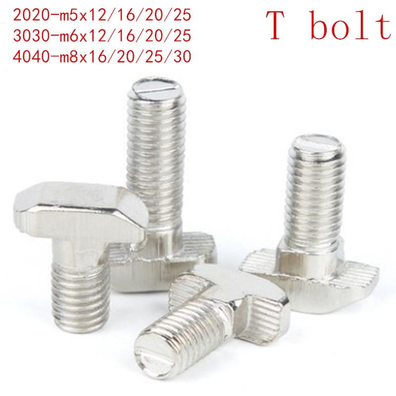 10PCS 5PCS  M5 M6 M8 T Hammer Head T Bolt Aluminum Connector T head bolts Screws for 20/30/40/45 Aluminum Profiles