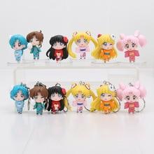 6pcs/set 4-5cm Anime Sailor Moon kimono Chibimoon Mars Jupiter Venus Mercury Q Version PVC Action Figure Keychain Toys