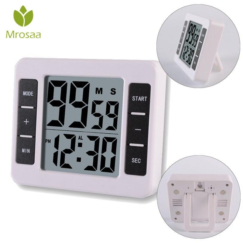 Mrosaa 1 шт. Белый ЖК-цифровой экран кухонный таймер квадратный кухонный будильник прямого и обратного счета с Подставкой Магнитные часы Temporizador