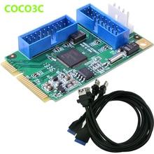 Mini PCIe à 4 ports USB 3.0 adaptateur mini PCI-e à double 19Pin USB 3.0 en-tête + 19 P USB femelle en-tête à 2 USB3.0 câble spiltter