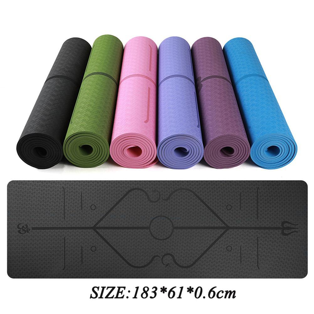 6 мм Толщина 183cmX61cm Высокое качество TPE Нескользящие коврики для йоги для фитнеса безвкусный Пилатес гимнастические коврики с повязками|Коврики для йоги| | АлиЭкспресс