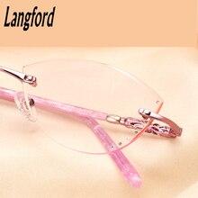 Cat eye glasses frame women frameless glasses Optics Diamond cutting high-end prescription glasses F