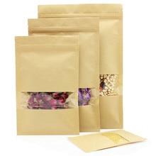 50pcs Window open bottom kraft paper bag Ziplock bag candy food coffee packing bags