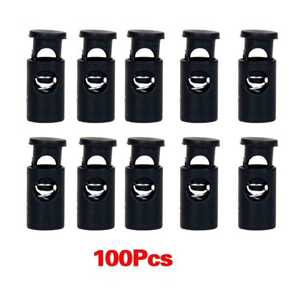 THGS 100pcs Black Cylinder Barrel Cordlock Cord Lock Toggles Stopper