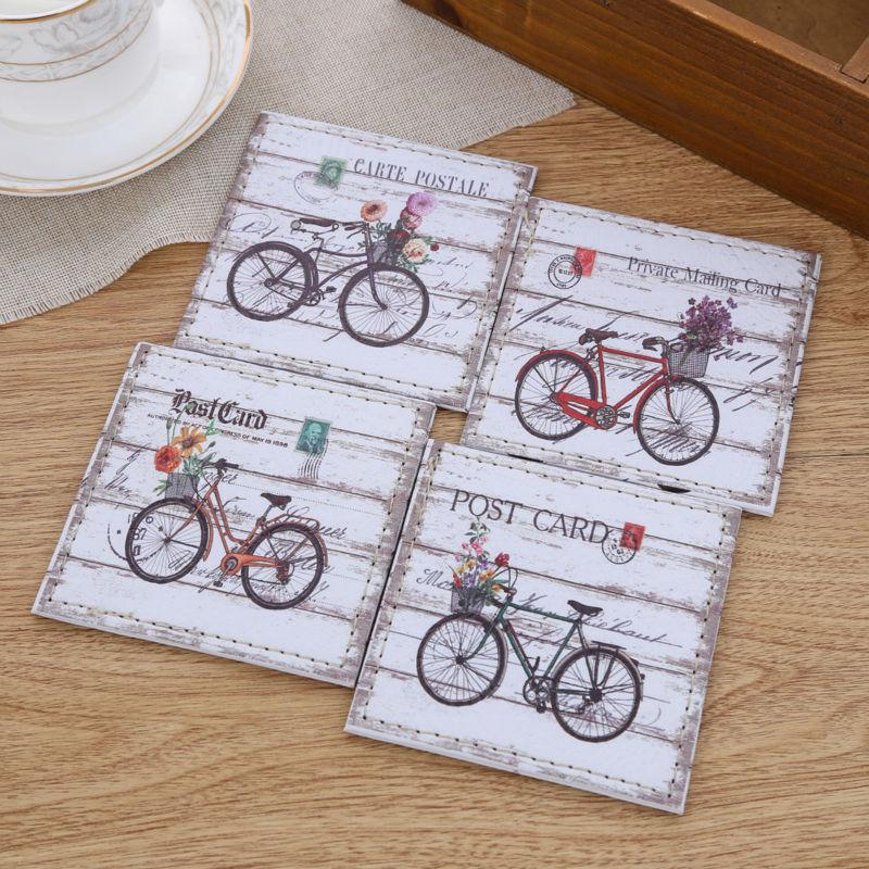 LINKWELL 4 pçs/set 10x10 cm Bicicleta Do Vintage ZAKKA Copo Lugar Mat Mat Couro PU Bar Coaster Copo Mesa titular Drink Placemat Mat