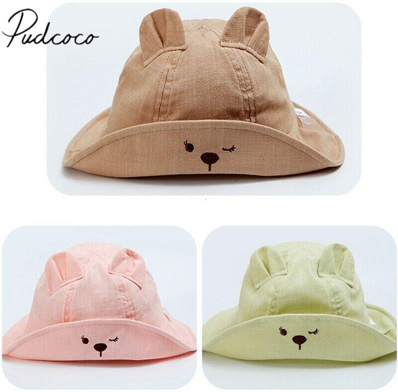 2019 bebé accesorios de verano recién nacido bebé niñas niño chico de dibujos animados oídos sombreros princesa bebé flor sol gorra de algodón cubo oso sombrero