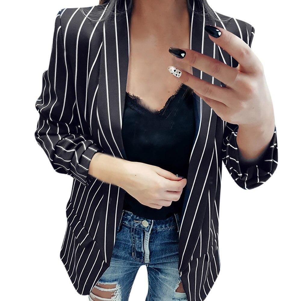 Moda Casual Blazers para Oficina de las señoras de manga larga a rayas elegante Duster Blazer chaqueta blazer damen z0521