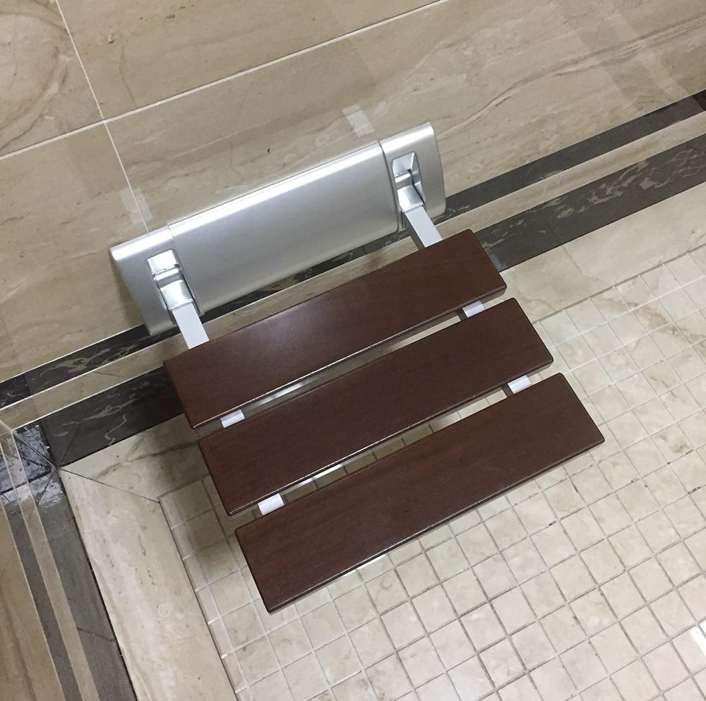 """Diyhd 12 """"luxo banheiro de madeira maciça dobrável assento do chuveiro escovado montagem na parede ampla base banco chuveiro"""