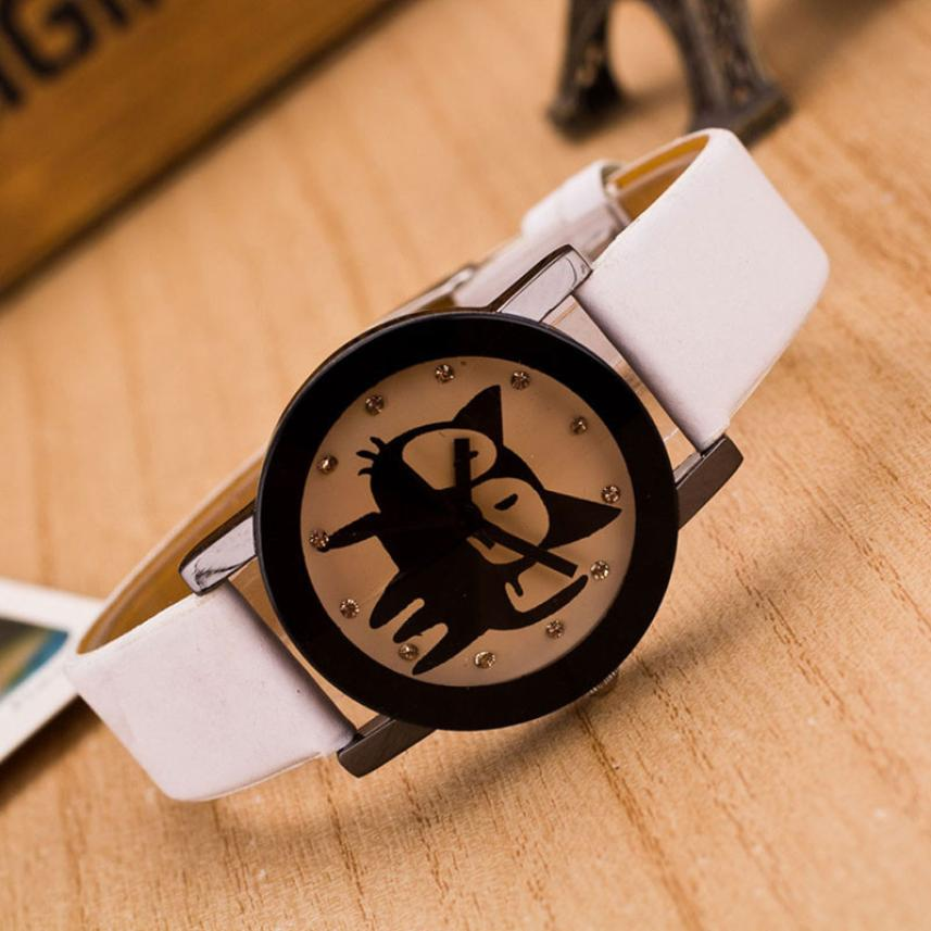 Womens Crystal Wrist Watches Ladies Girls Clock Cute Cat Dial Leather Band Analog Alloy Quartz Wrist Watches Relogio  #D