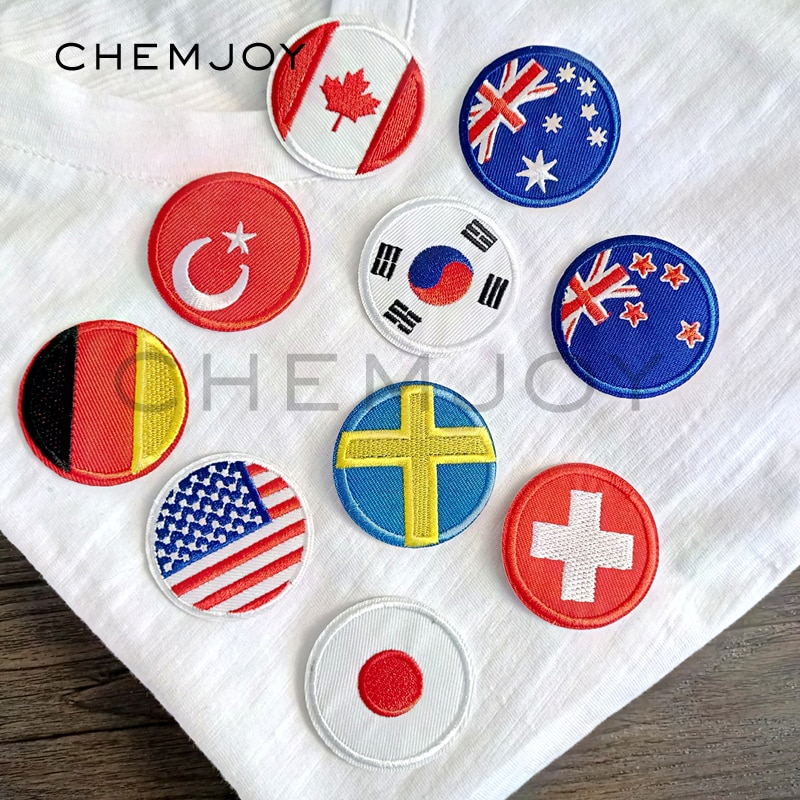 Bandera Nacional de país pedrería para aplicación con plancha coser en parches bordados Transferencia de Calor pegatina apliques para sombreros sudaderas parche de país