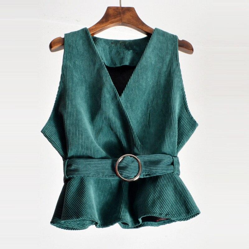 Mujer chaleco chaqueta nueva ropa de primavera otoño Mujer Tops abrigo coreano sin mangas ajustado cinturón PANA chaleco pantalón corto casual chalecos