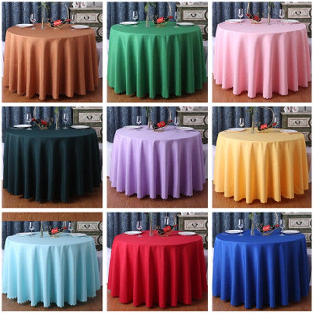 Mantel de Hotel redondo de 1,6 m-3,2 m, mantel de mesa para banquetes, restaurante, mantel de hogar de color sólido, mantel de mesa de boda