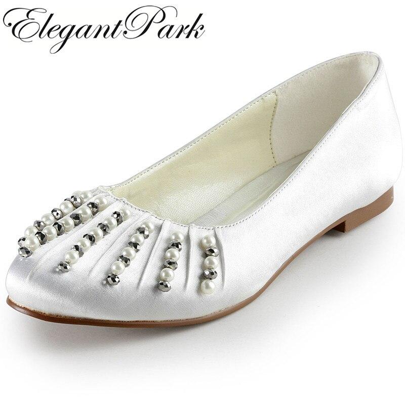 Women Shoes EP2016 Plus Size Ivory Round Toe Pearl Rhinestone Satin Wedding Flat woman ballet