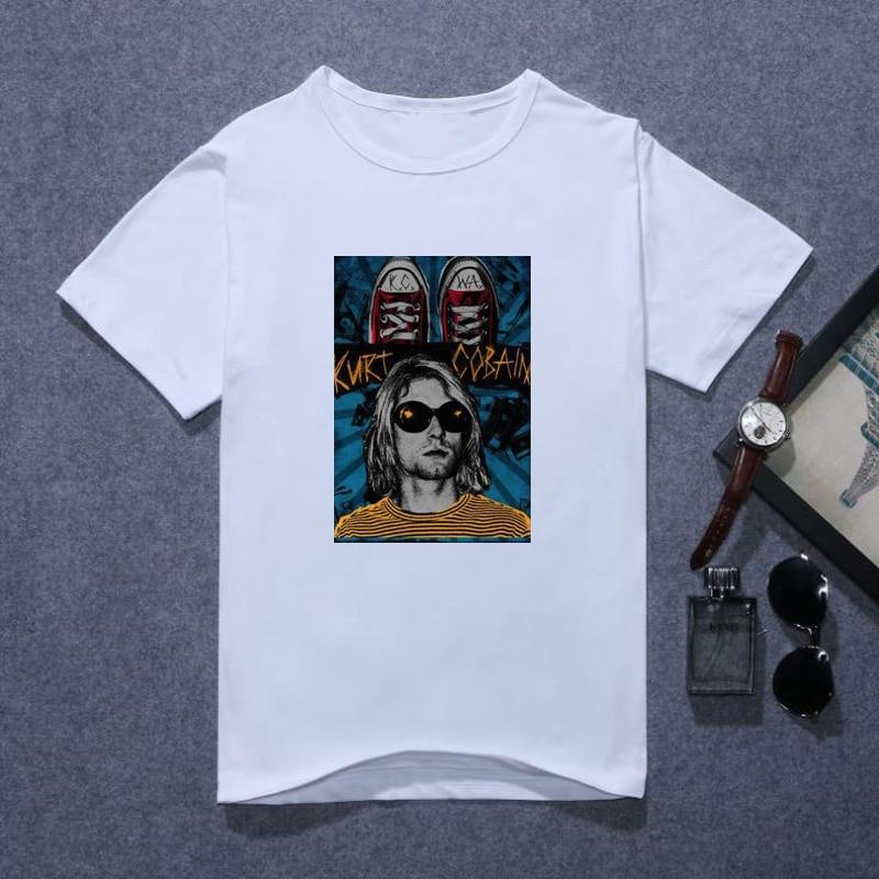 Mode 2019 Nirvana T-shirt Mannen Kurt Cobain T-shirt Daniel Johnston Rock Roll Band Straat Zachte Witte Tee Shirt Tops