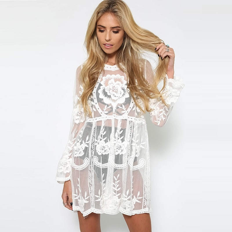 Женская пляжная туника с вышивкой Boho, летнее короткое свободное кружевное платье-парео, повседневное черно-белое пляжное платье с накидкой