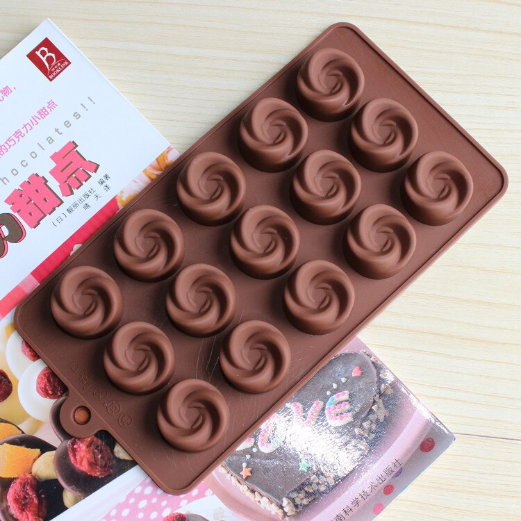 Silicone flor rosa forma redemoinho molde de chocolate geléia cany molde de gelo moldes de bolo assar ware d595