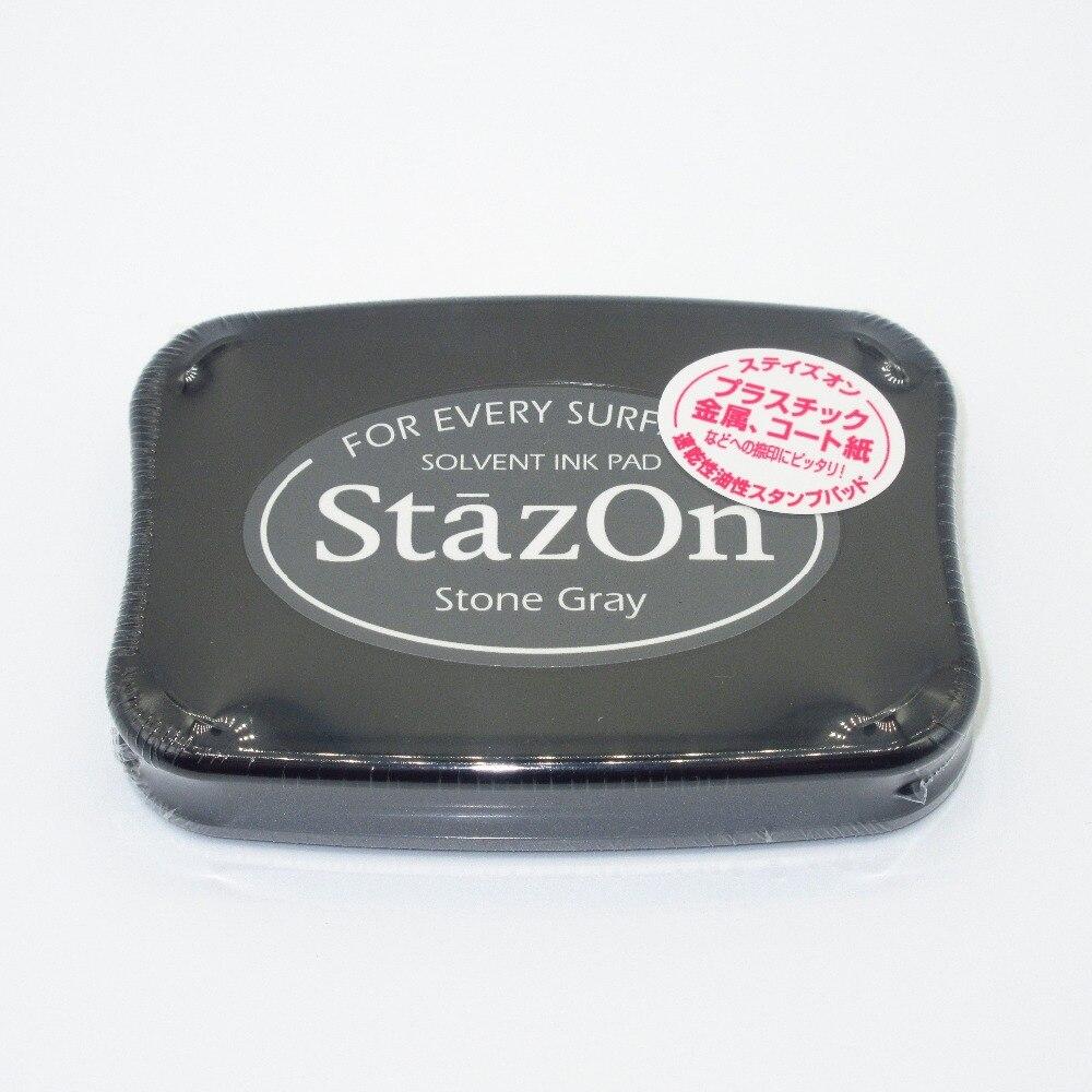 Tsukineko Inkpads быстро сохнет полноразмерный StazOn многоповерхностный растворитель чернил Pad камень серый SZ-32 для каждой поверхности Япония