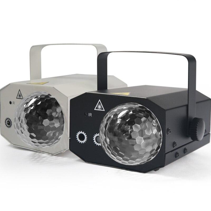 2019 nueva Mini luz láser 16 en 1 patrones de luces LED bola mágica de doble cabeza ambiente romántico para fiesta KTV DJ discoteca Club o bar