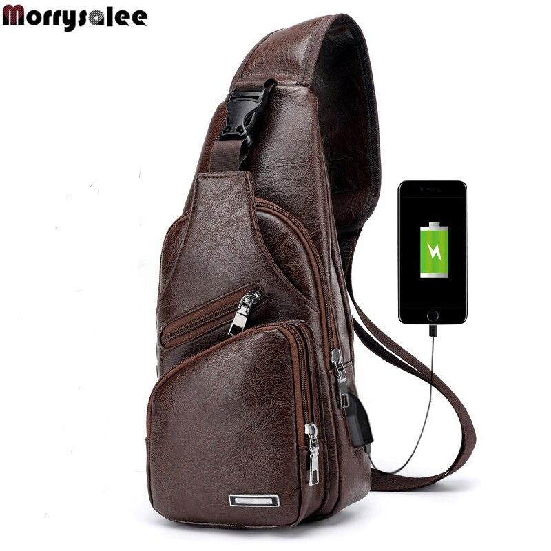 Мужская сумка-мессенджер, через плечо, с USB разъемом, 2018