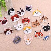 AHYONNIEX-lot de 10 pièces   Patchs séries tête et poisson de chat coupé, patch brodé, patch fer sur tissu autocollant pour vêtements, accessoires