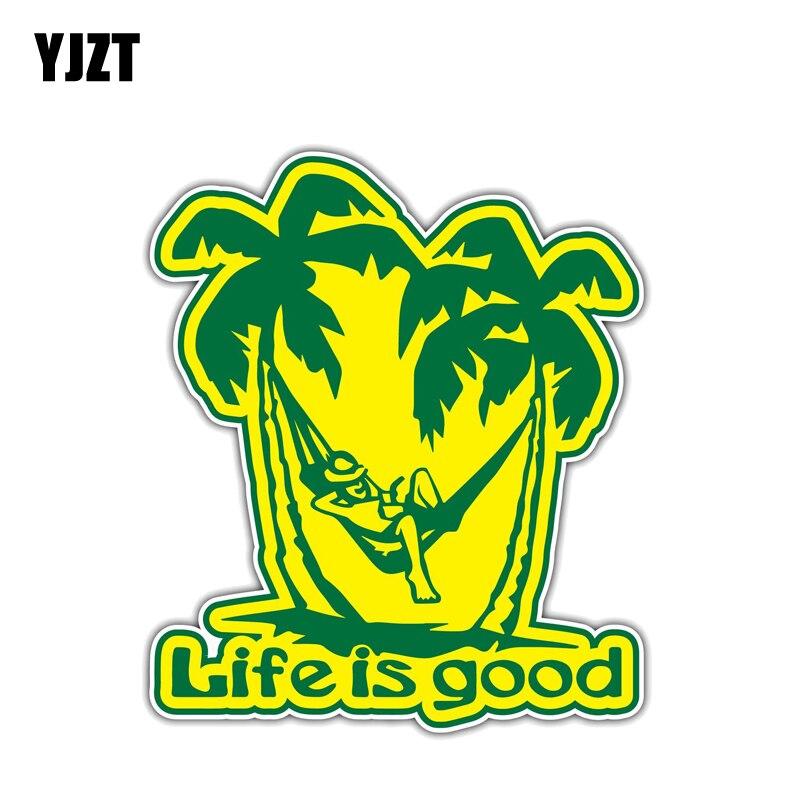 Pegatina para el coche de YJZT de 12,2 CM x 14,2 CM, pegatinas de PVC para Life Is Good Vacation Miami Paraíso, 12-1333