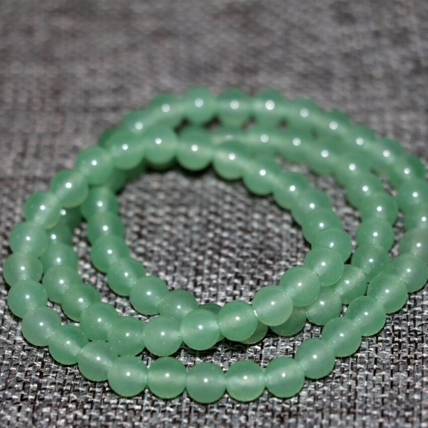 Bohemia style charms 6mm green stone jades round beads multilayer bracelets stone chalcedony women hot sale jewelry 18inch B2898