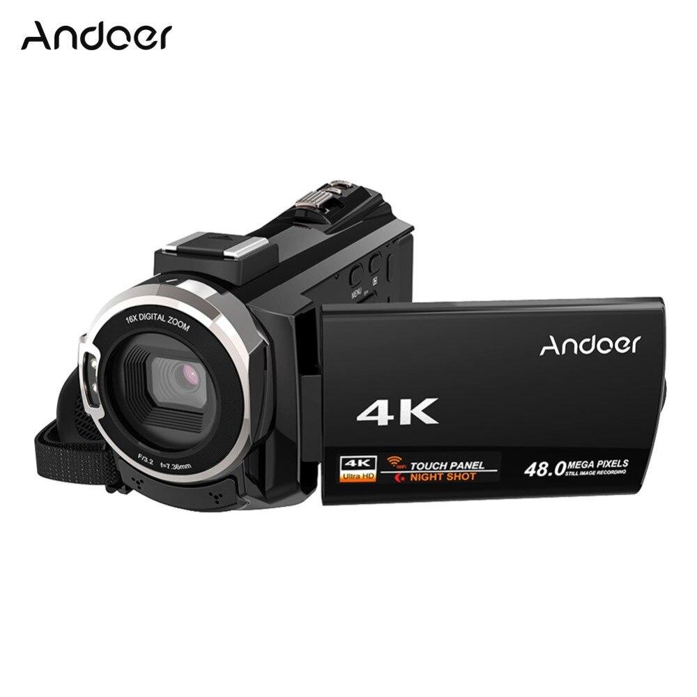Andoer 48MP 4K 1080P WiFi Câmera de Vídeo Digital Camcorder Recorder w/0.39X Amplo Ângulo de Lente Macro para Microfone novatek 96660 Chip