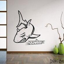 Angry shark Duvar Çıkartmaları Okyanus Deniz Deniz Duvar Sticker Banyo Için Çıkarılabilir sanatsal fresk Ev Dekor H078