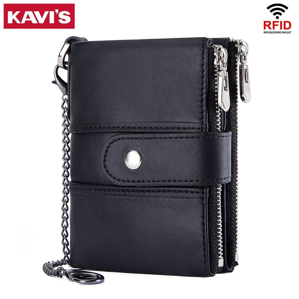 KAVIS 100% de cuero genuino Rfid hombres cartera monedero corto hombre bolsa de dinero de diseño de calidad pequeño negro titular de la tarjeta