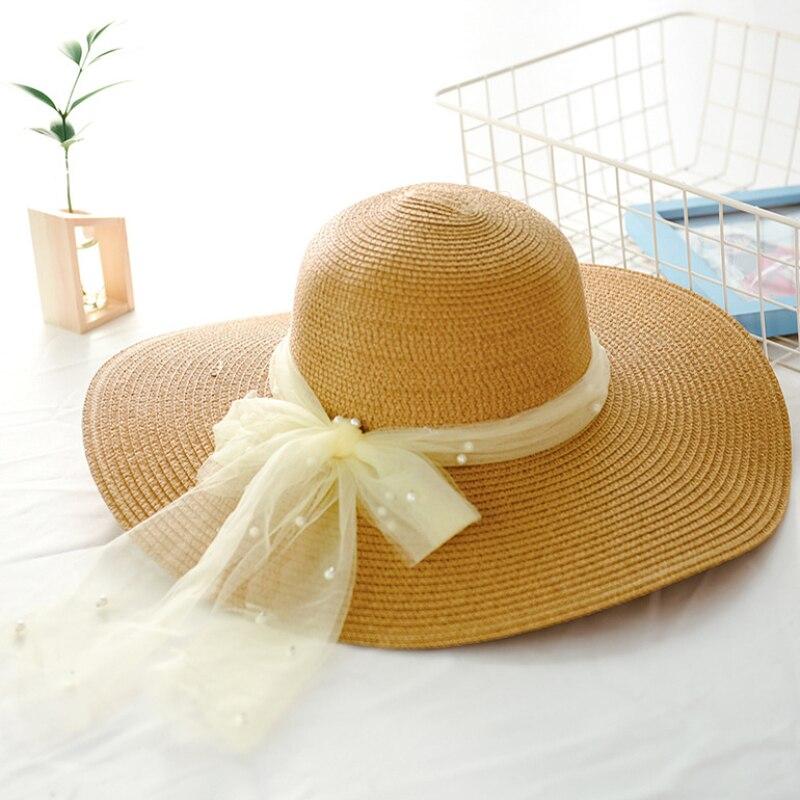 HT2263 New Fashion Women Straw Sun Hats Ribbon Pearl Ladies Floppy Beach Hat Female Summer Packable Large Wide Brim Hat Women