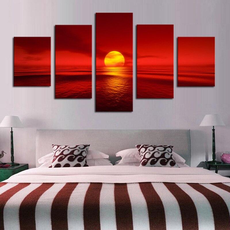 Cuadros modulares 5 paneles amanecer puesta de sol Mar Rojo lienzo pintura arte de pared imagen decoración del hogar Poseter