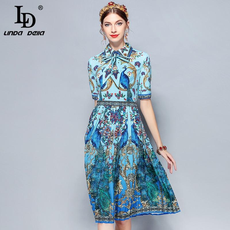 LD LINDA DELLA nueva moda vestido de verano de diseñador de pasarela vestido de mujer con cuello de lazo elegante estampado Floral Animal plisado vestido Vintage